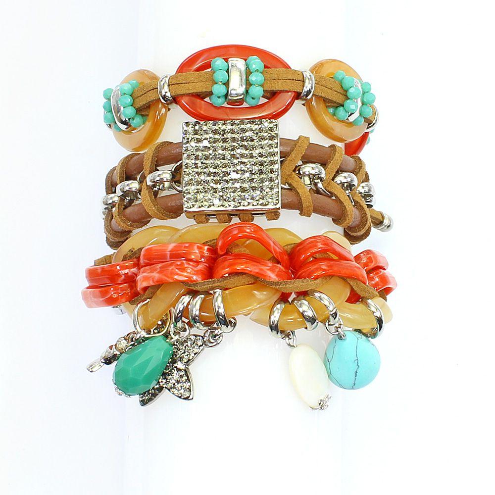 Bijuterias - pulseira feminina couro sintético, elos e metais - 0796
