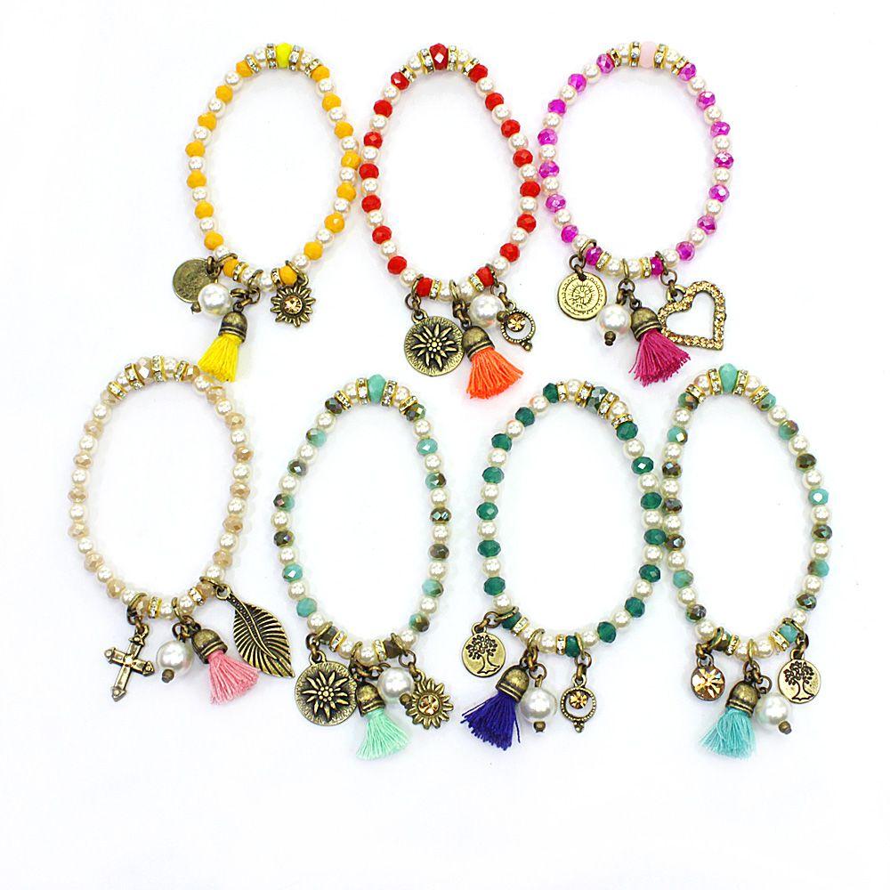 Bijuterias - pulseira feminina silicone, cristais, e pingentes - 0061