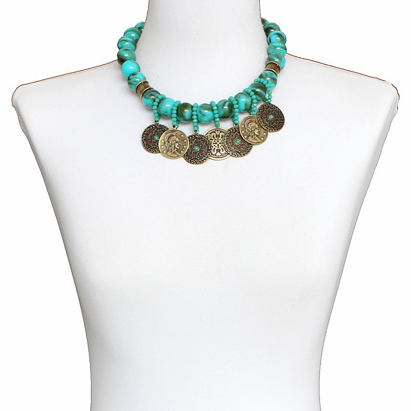 Colar feminino, 1 volta, curto, bolas e moedas - Bijuterias - 6744