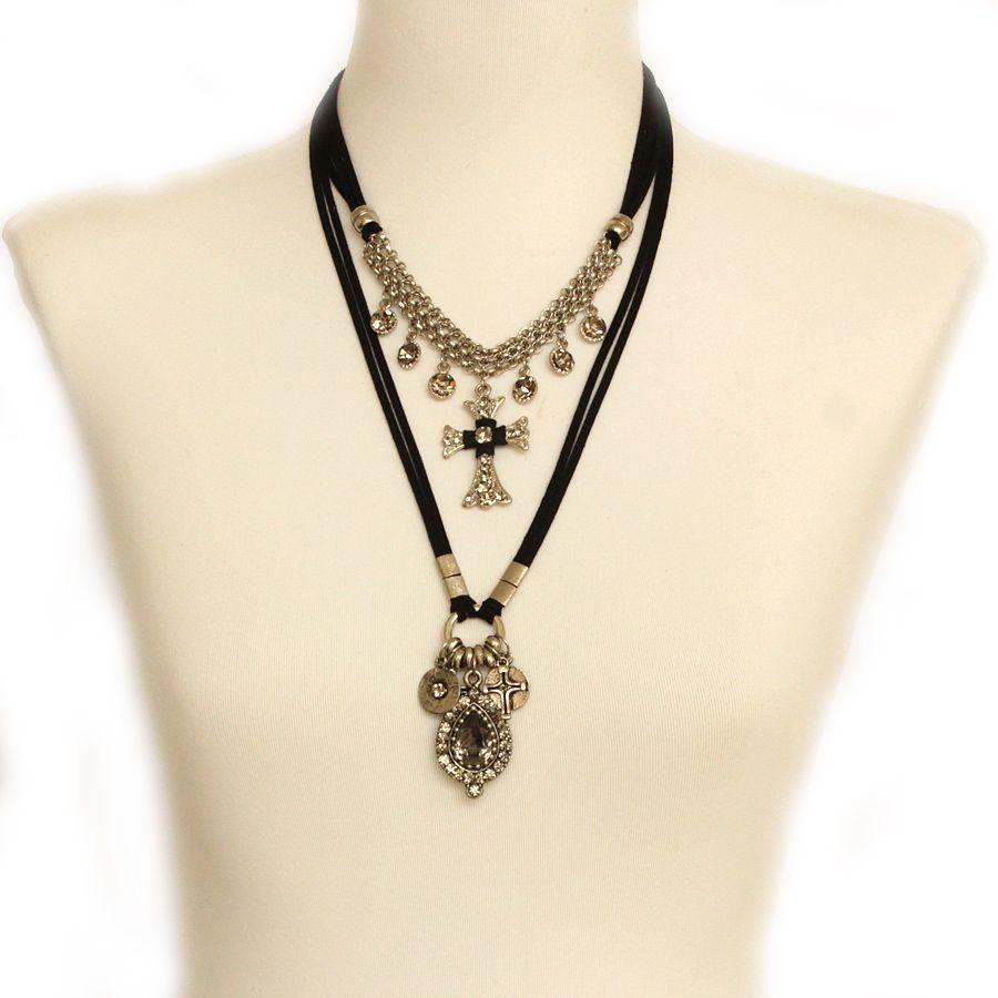 Colar feminino 2 voltas, camurça, correntaria e cruz, bijuteria -1686