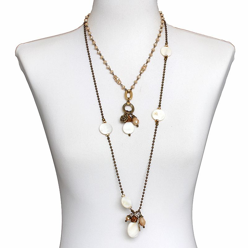 Bijuteria -Colar feminino 2 voltas, correntes, cristais e madrepérolas - 6460