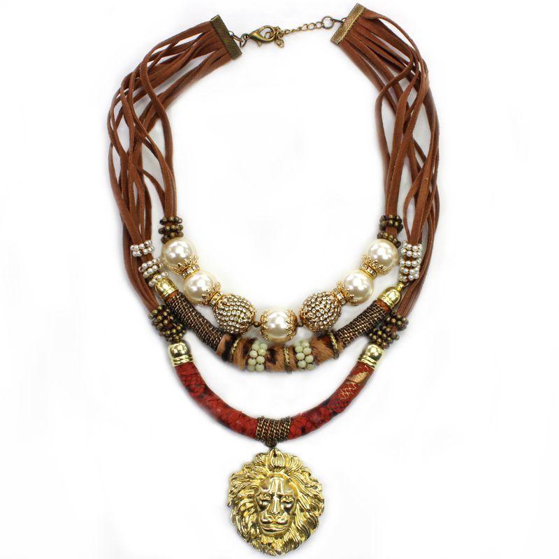Colar feminino animal pint pingente leão, bijuteria  -4912