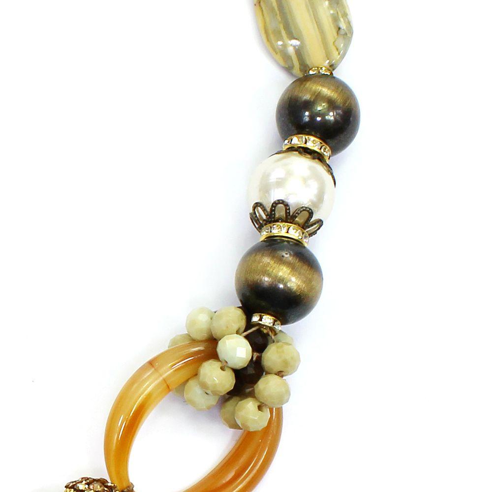 Colar feminino bolas e metais - bijuteria - 1721