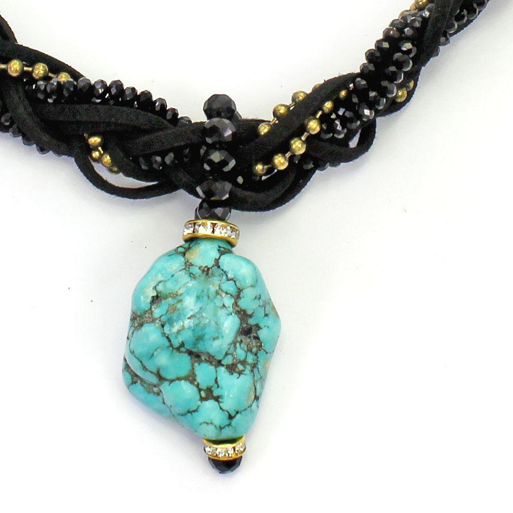 Colar feminino camurça, corrente, cristais e pedra - bijuteria - 2600
