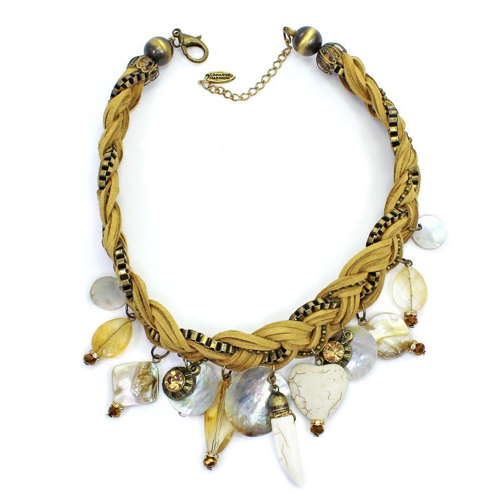 Colar feminino camurça, corrente pingentes - bijuteria - 1778