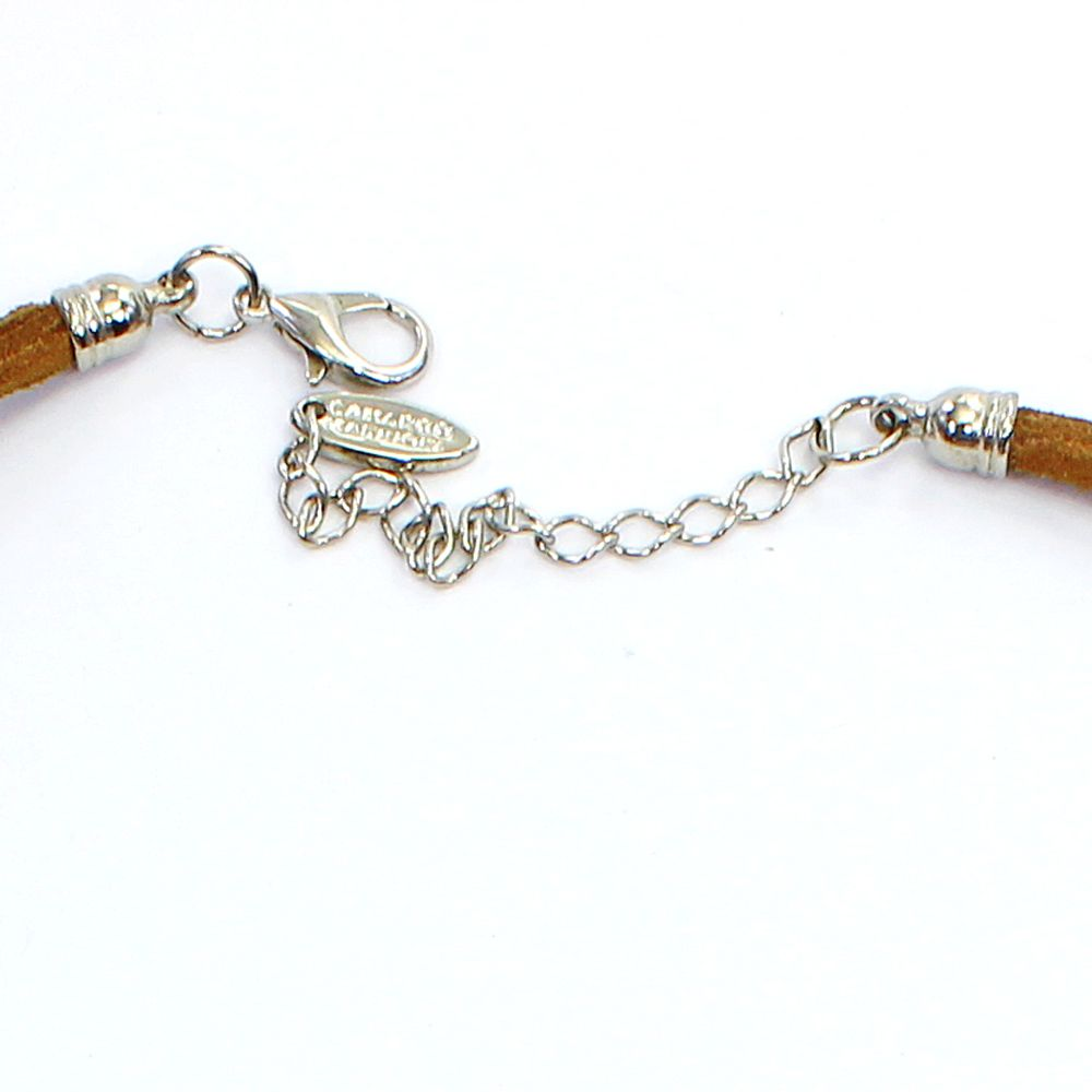 Colar feminino camurça e pingentes - bijuteria - 7407