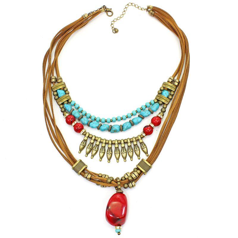 Colar feminino camurça, metais e pedras - bijuterias - 7595