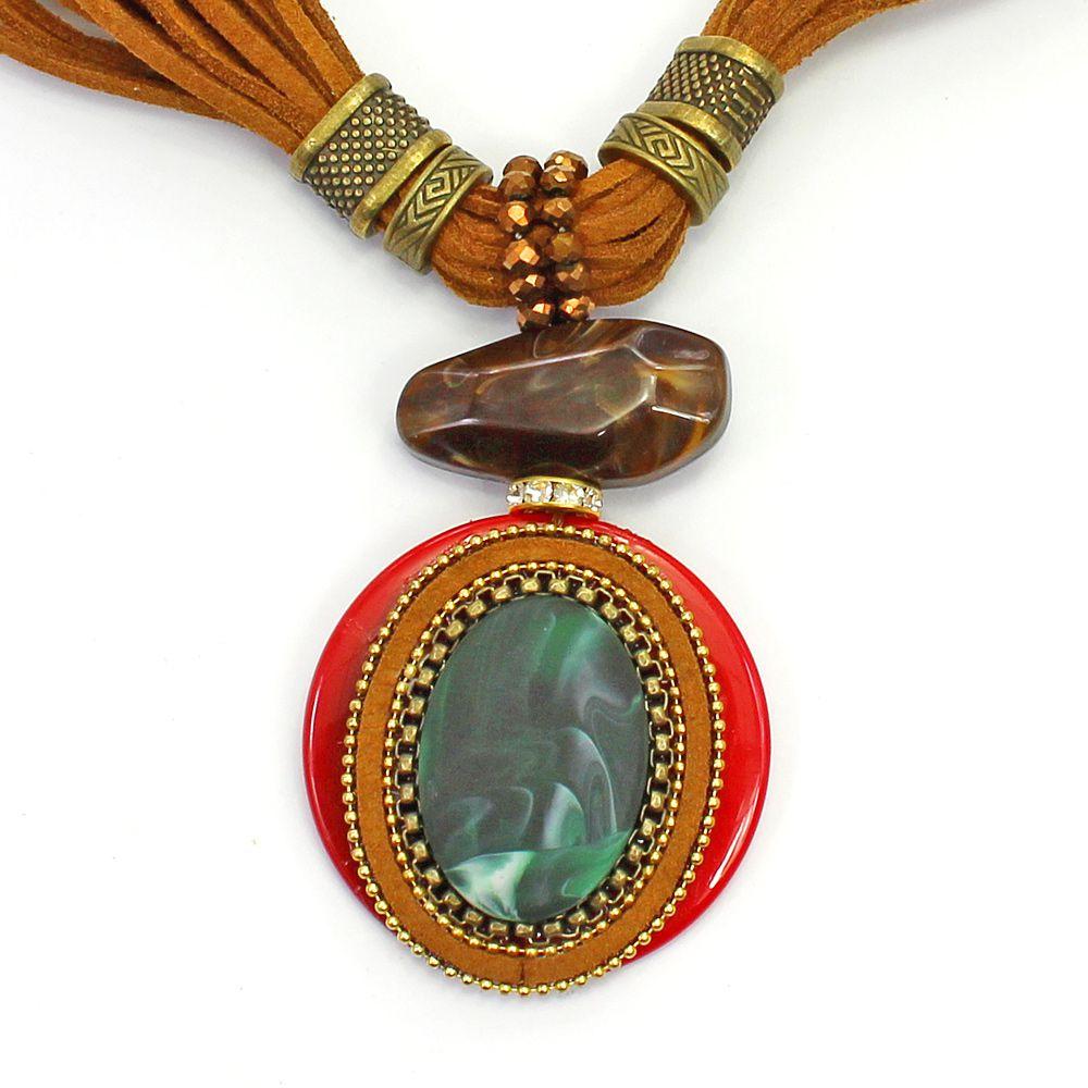 Colar feminino camurça, resinas e metais - bijuteria - 3658
