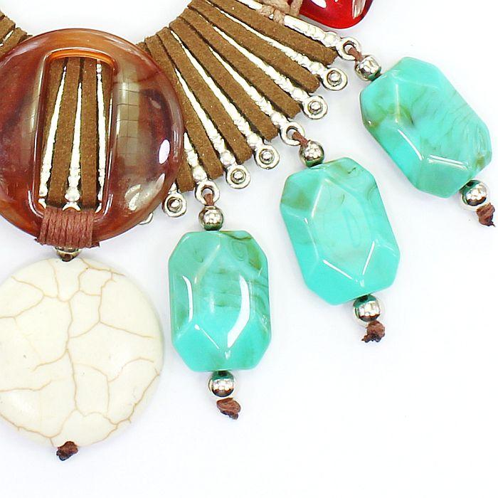 Colar feminino, camurça, resinas e pedras - bijuteria - 8261
