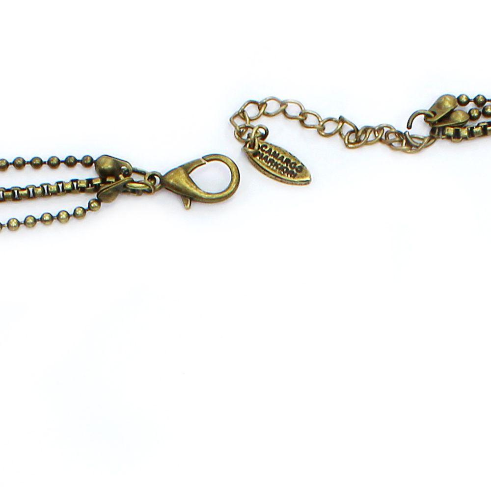 Colar feminino corrente, cascalho, madrepérolas e pingentes - 1199
