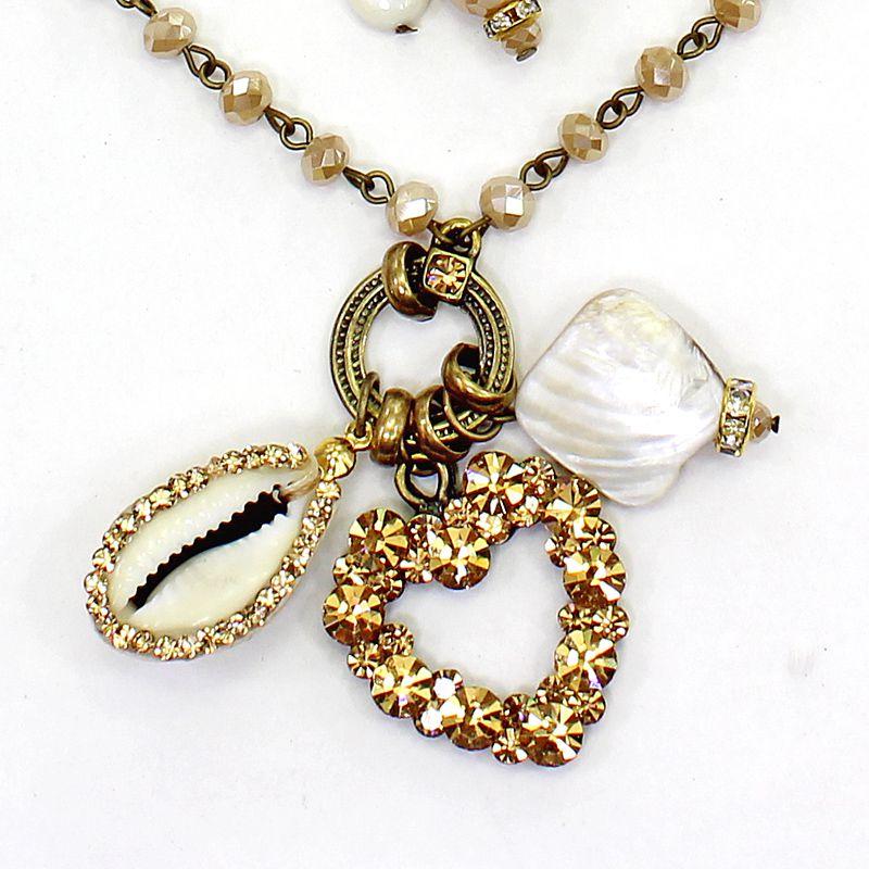 Colar feminino, corrente, cristais e pingentes - Bijuterias - 7570