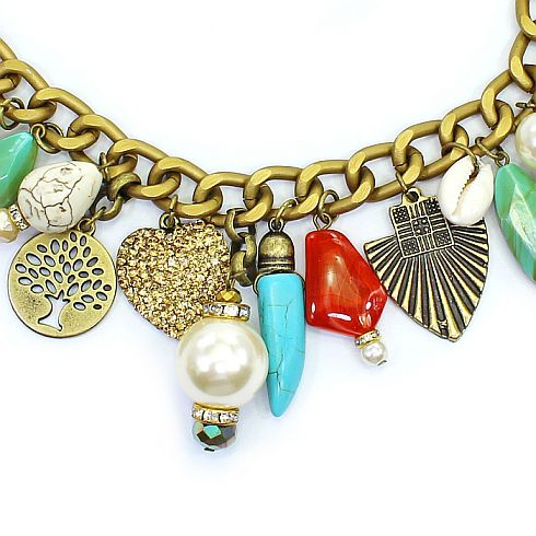 Colar feminino corrente e pingentes - bijuteria - 1268