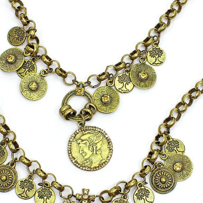 Colar feminino corrente, moedas, pingentes - bijuterias - 1190