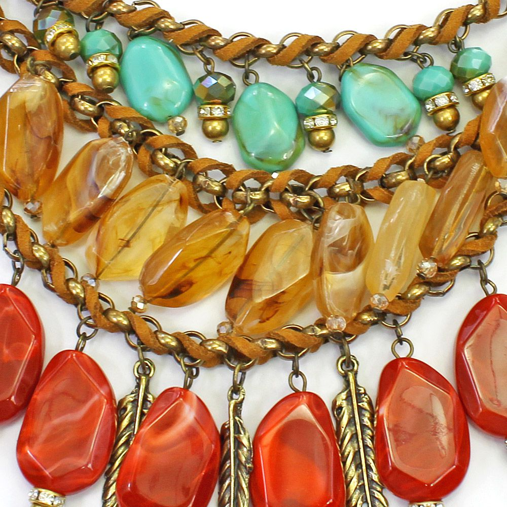 Colar feminino correntes, camurça, resinas - bijuteria - 2388