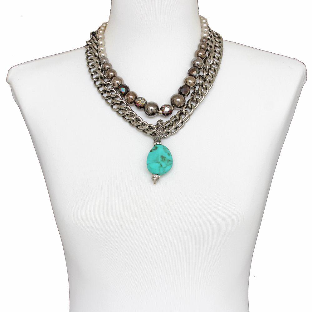 Colar feminino correntes, cristais  - bijuterias - 2209