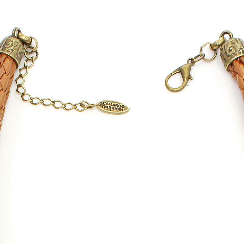 Colar feminino, couro , elos e cascalho - Bijuterias - 7480
