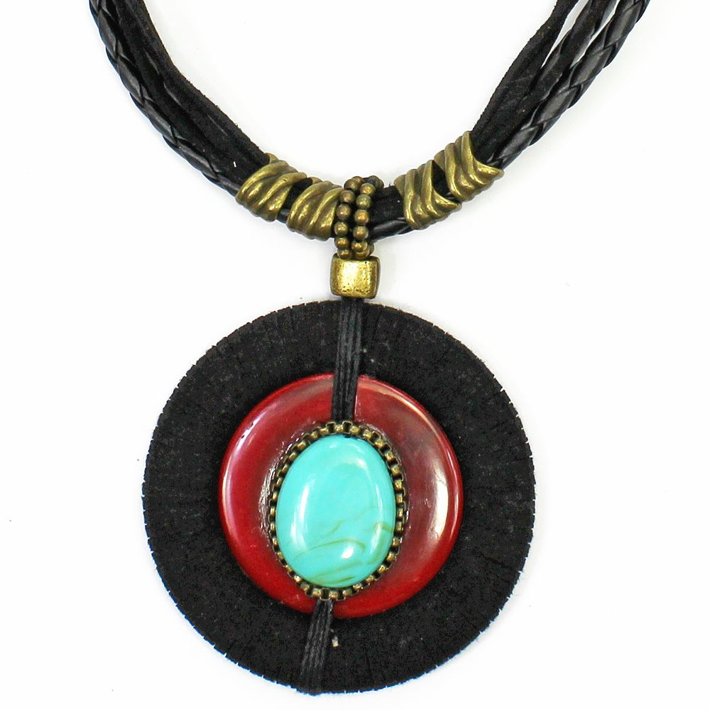 Colar Feminino | Couro Medalhão | Bijuteria Fina |CX-3761