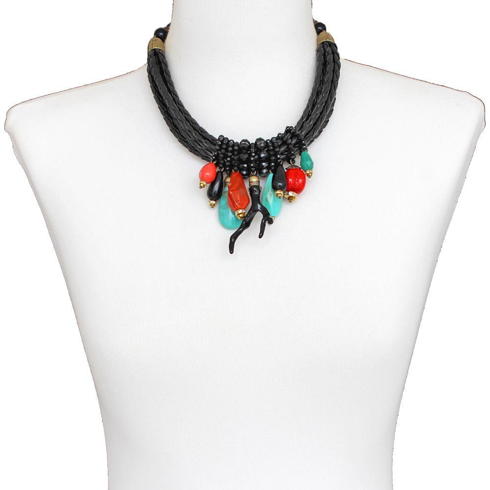Colar feminino couro sintético e pingentes  bijuterias - 1551