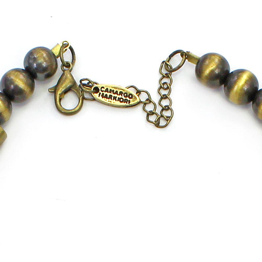 Colar feminino couro sintético, resinas, cristais e metais - bijuterias - 2393