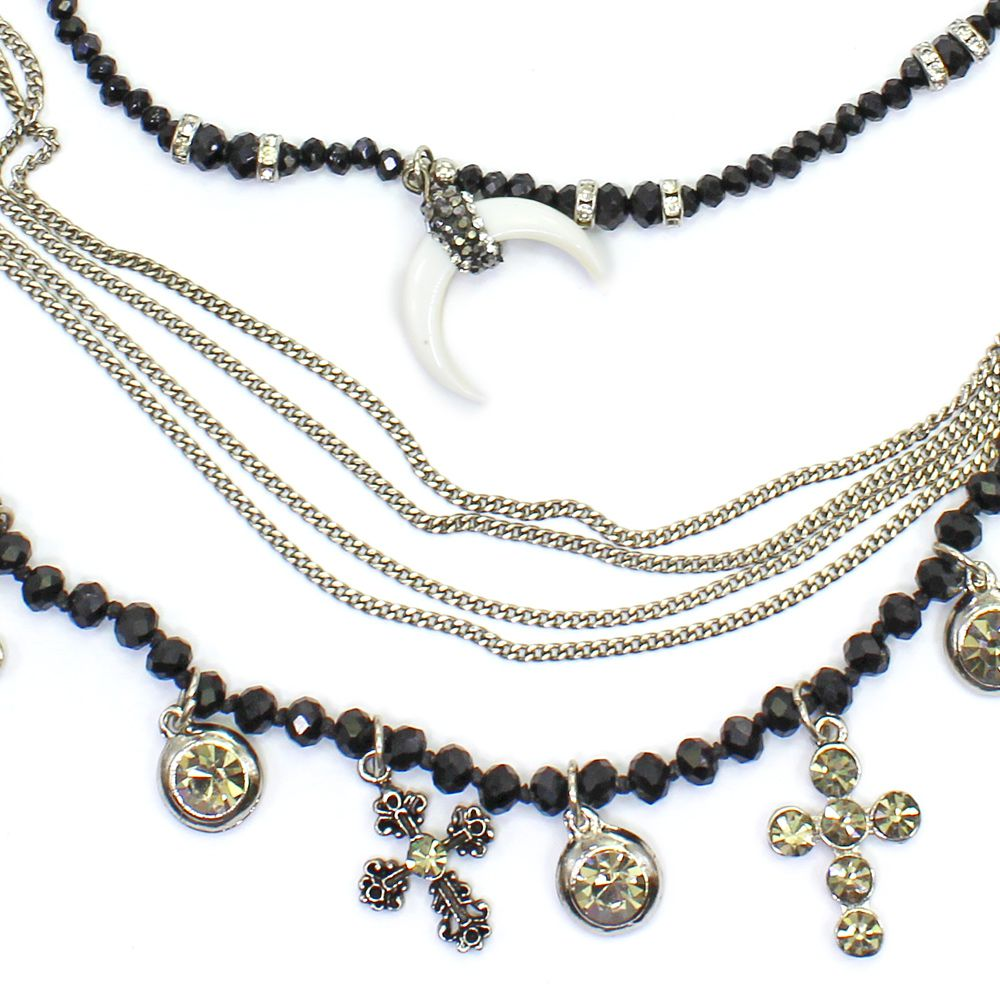 Colar feminino cristais, corrente e pingente - bijuterias - 7743