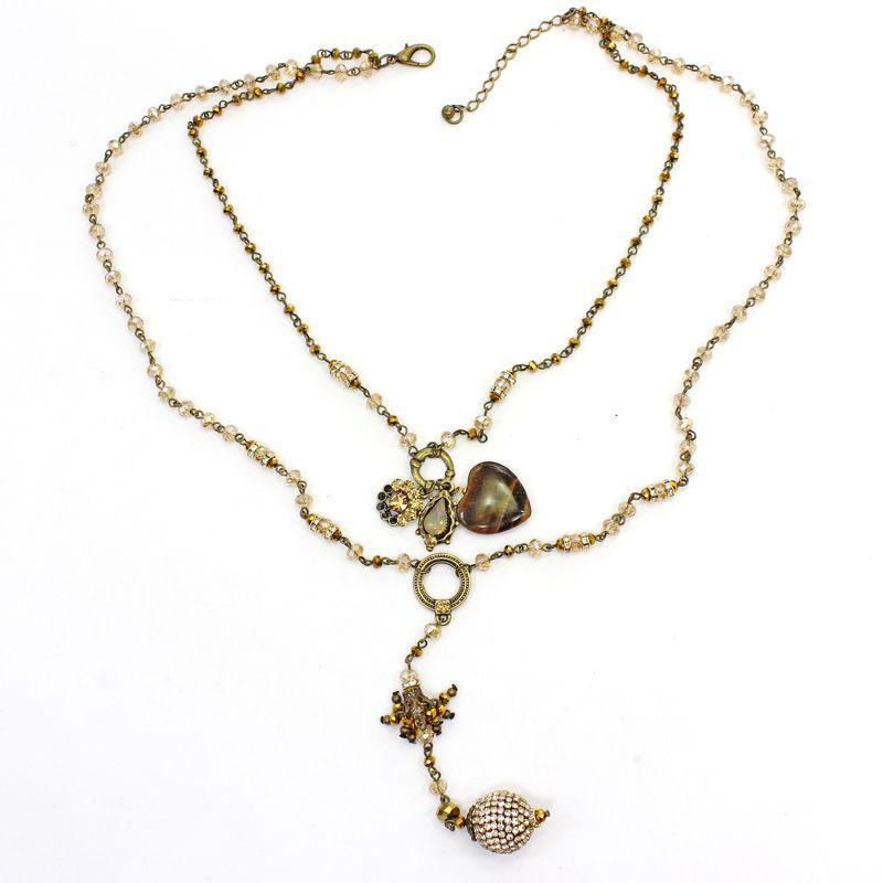 Colar feminino cristais e pedra - bijuterias  - 7498