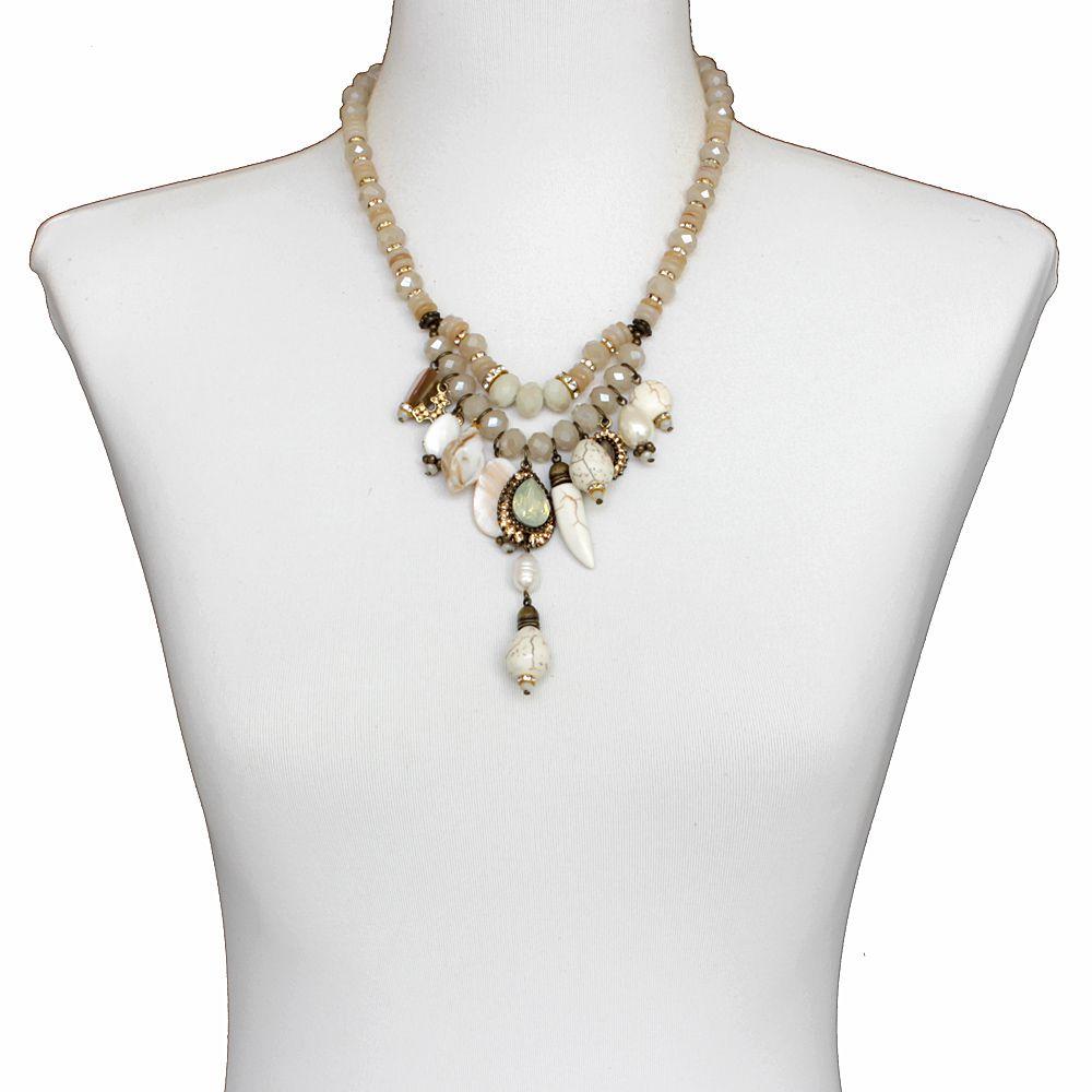 Colar feminino cristais e pedras - bijuterias - 2298