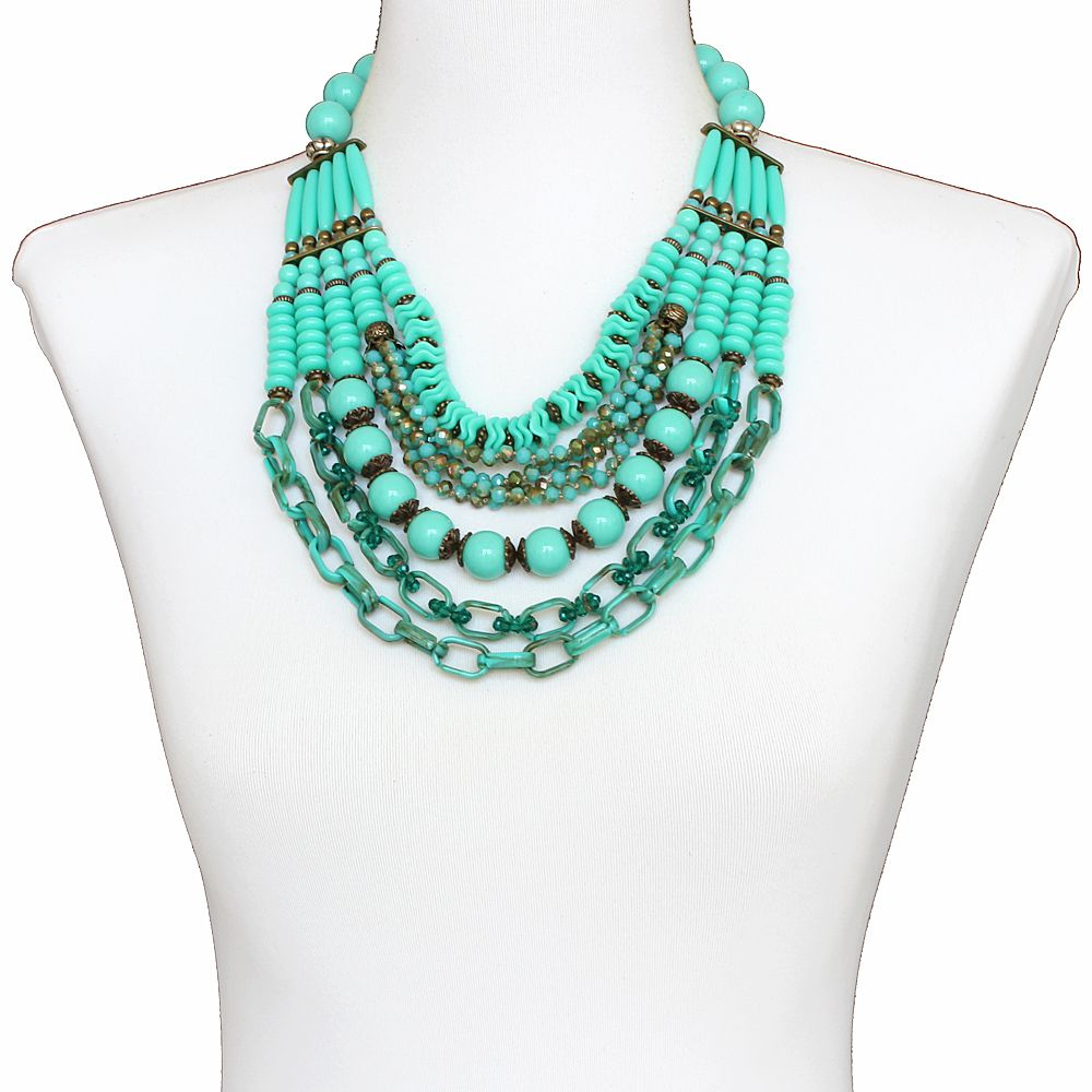 Colar feminino cristais, resinas e metais - bijuterias - 3663