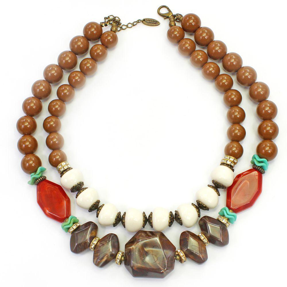 Colar feminino curto,bolas e resinas - bijuteria - 3641