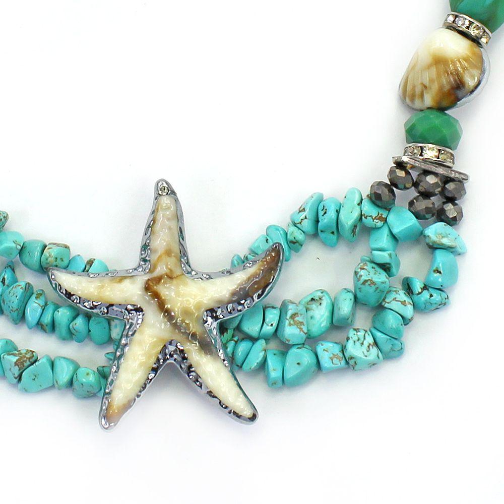 Colar feminino curto, cascalho resinas e estrela - bijuteria - 2378