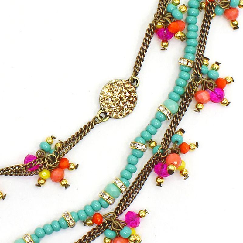 Colar feminino curto corrente e cristais - bijuterias - 8228
