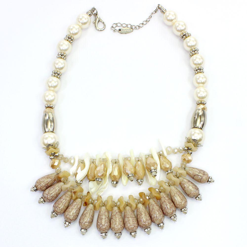 Colar feminino curto, pérolas, madrepérolas e gotas - bijuterias - 8322