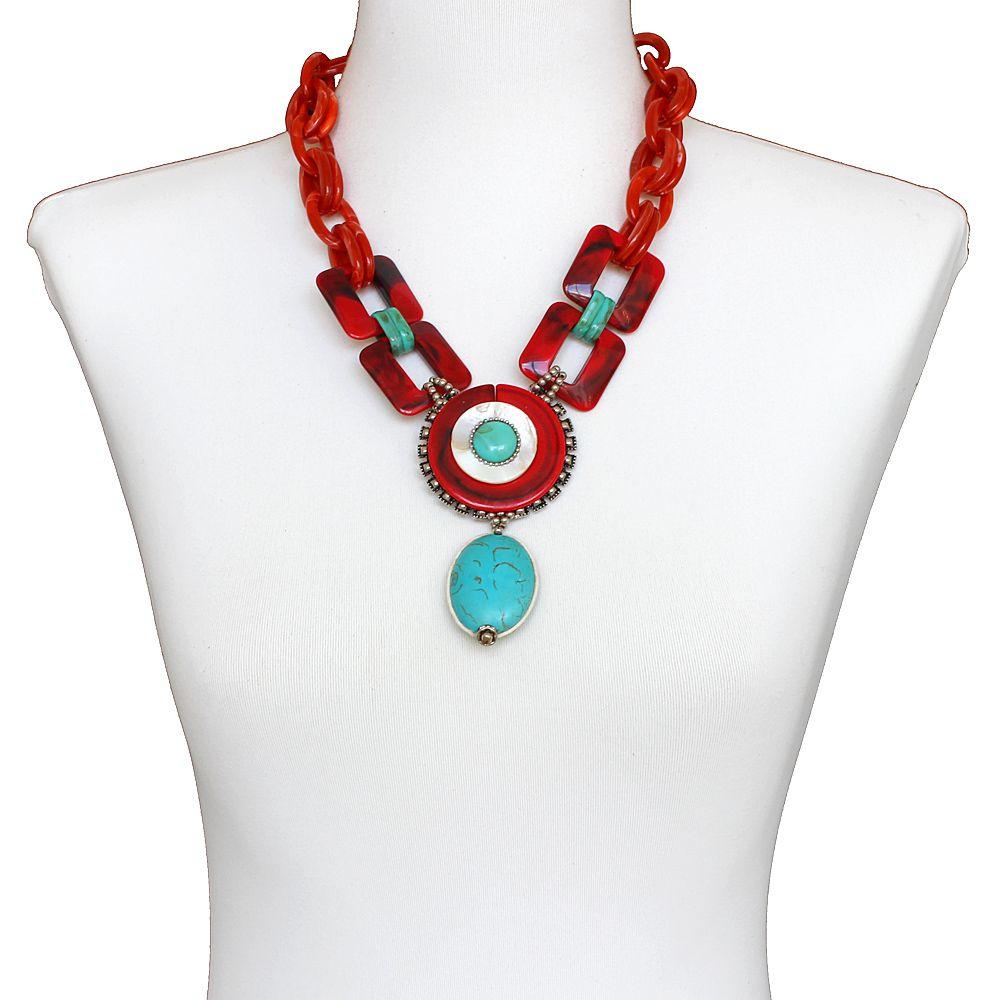 Colar feminino curto resinas, pedras e metais - bijuterias - 3696