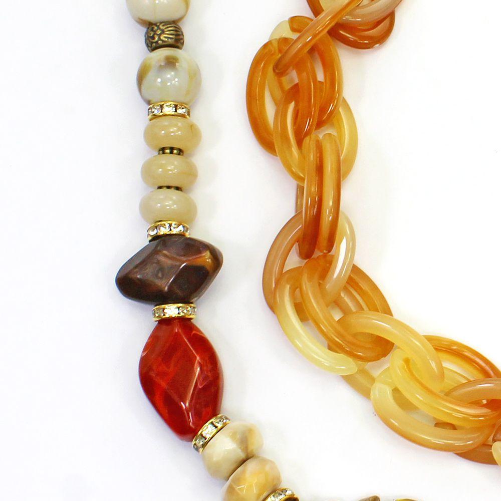 Colar feminino elos, cascalho e pedras - bijuteria - 1521