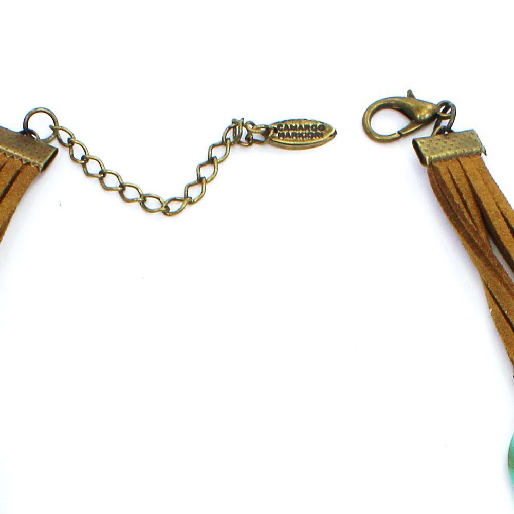 Colar feminino elos e dente - bijuteria - 1730