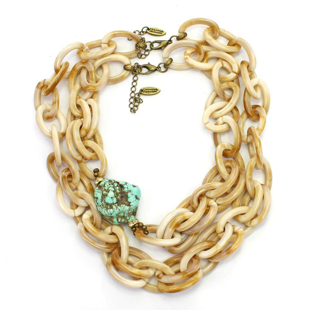 Colar feminino elos e pedra - bijuteria - 2351