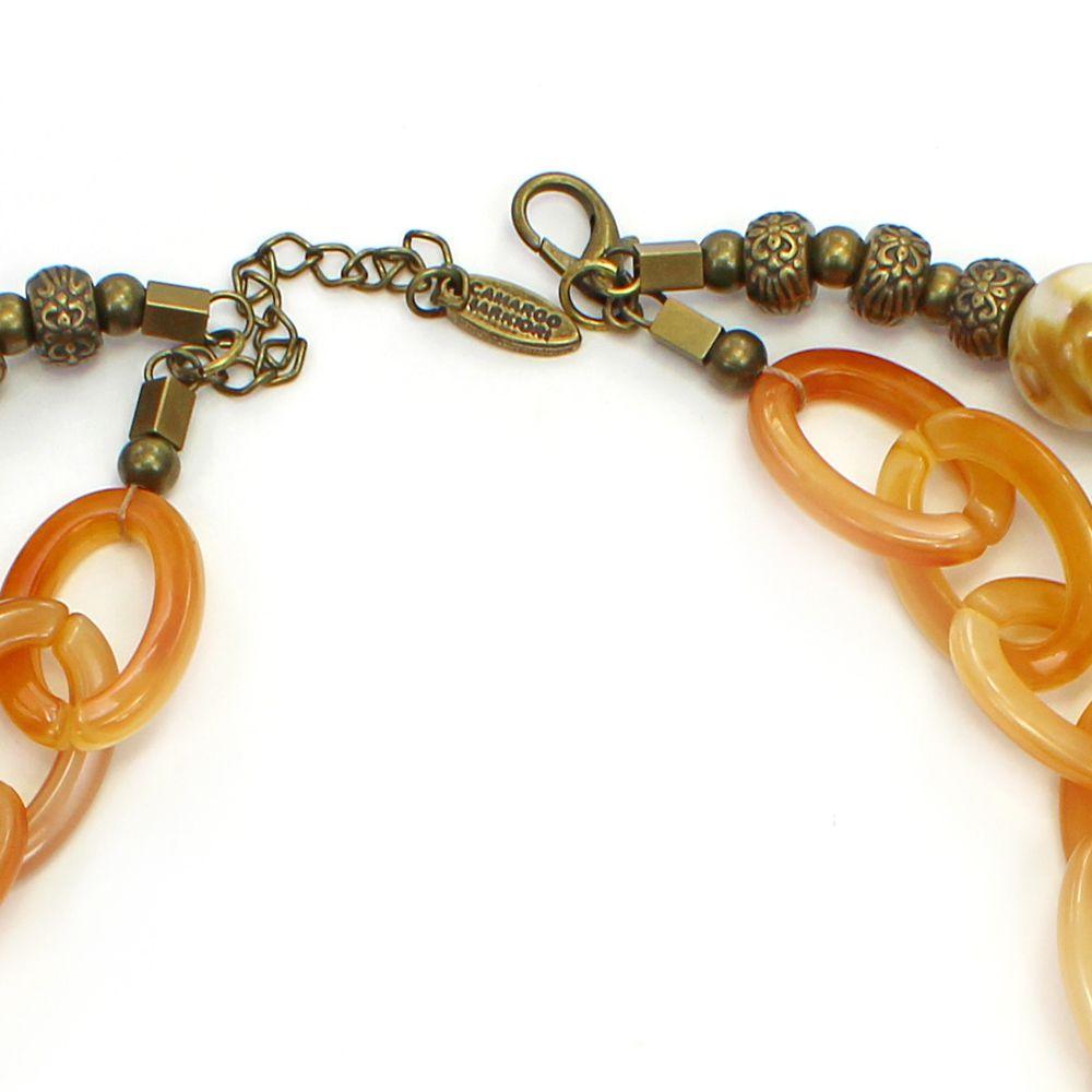 Colar feminino elos , resinas e cascalhos - bijuteria - 3637
