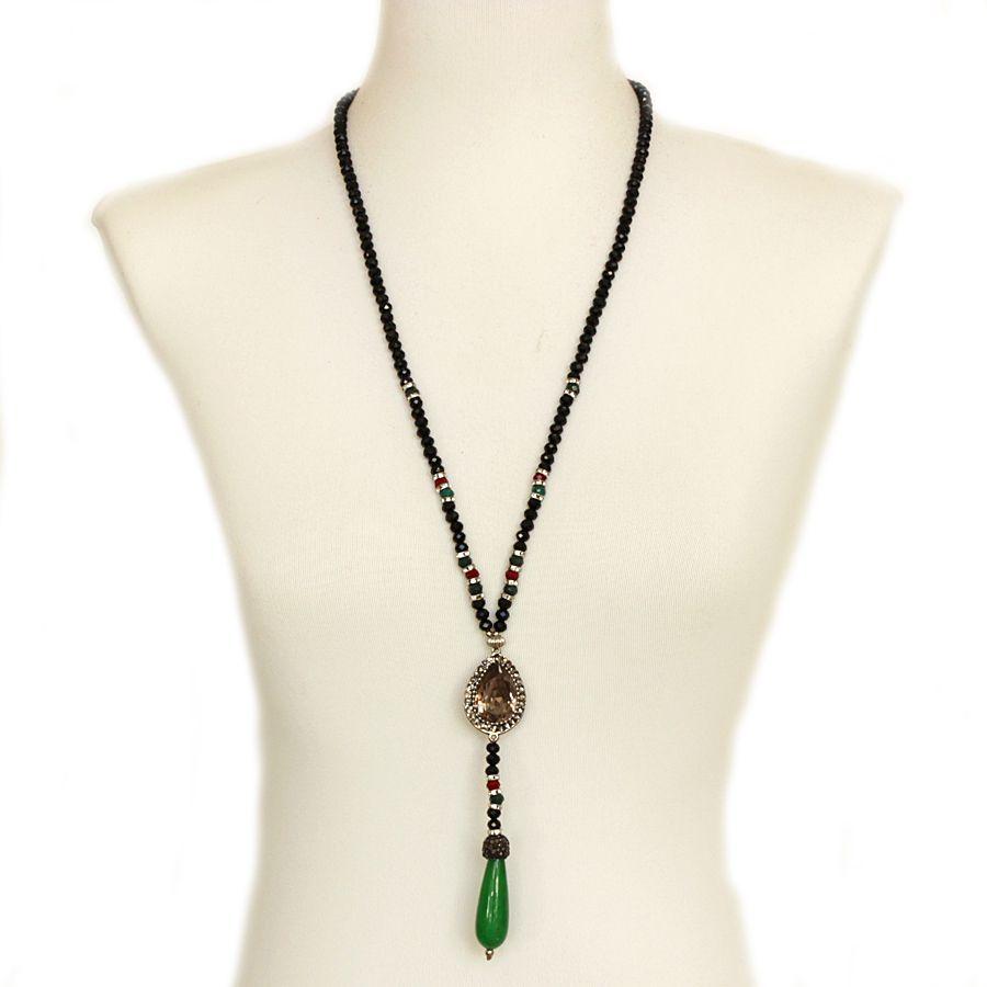 Colar feminino longo, 1 volta, cristais e strass, bijuterias -3493