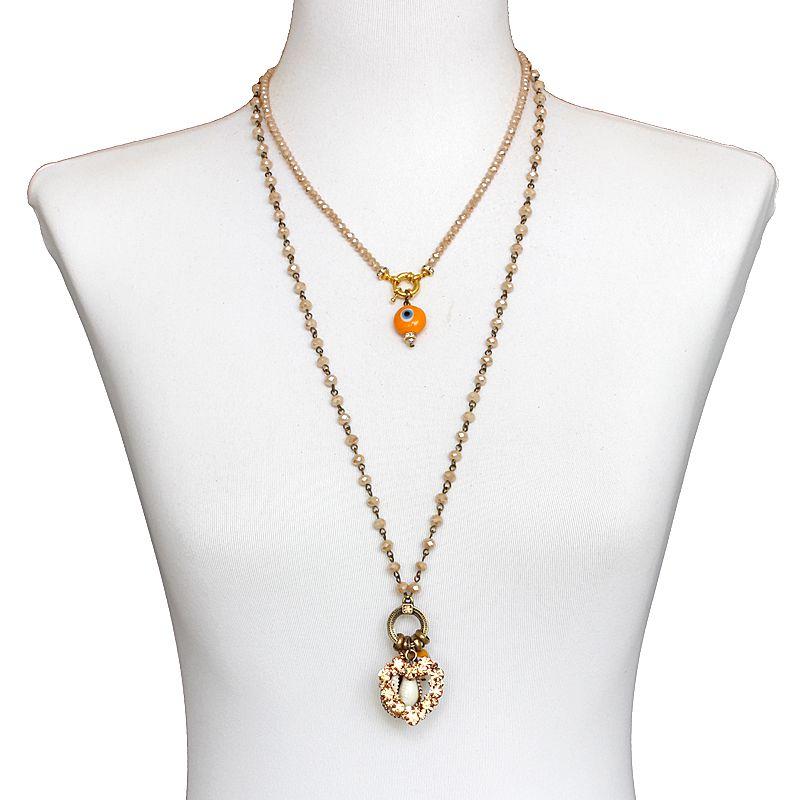 Colar feminino longo 2 voltas cristais - bijuterias - 7166