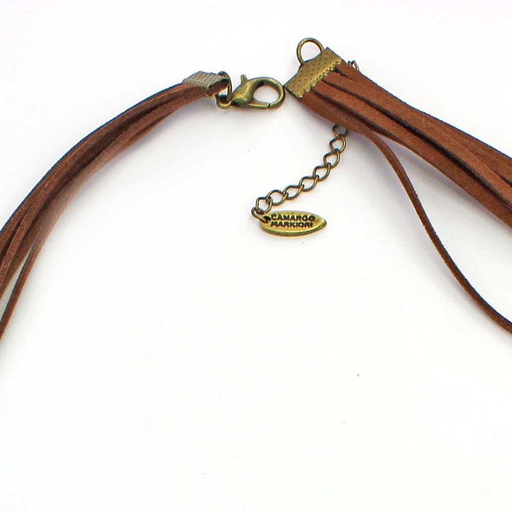 Colar feminino longo camurça, elos e pingentes - bijuteria - 2274