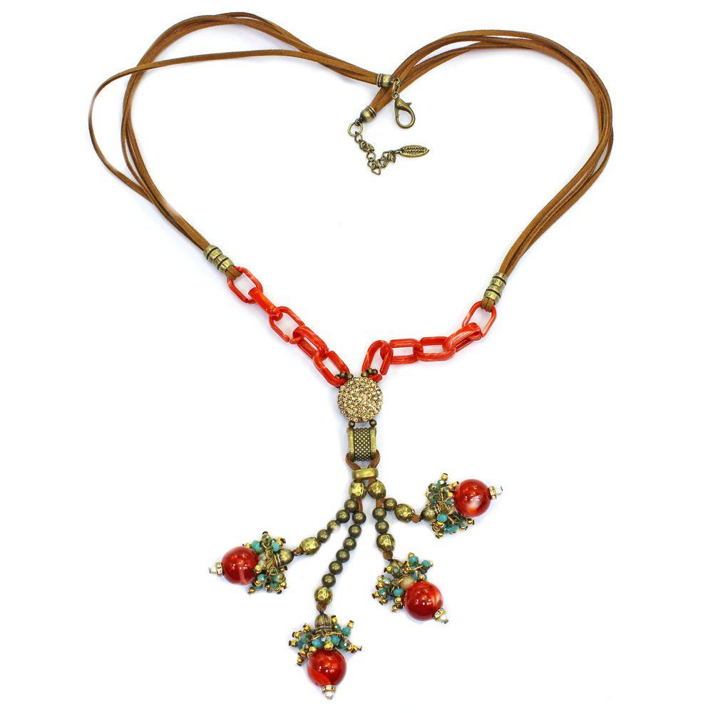 Colar feminino longo camurça, elos e pingentes - bijuterias - 1774