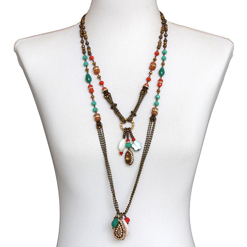 Colar feminino longo, corrente cristais e pingentes - bijuterias - 6485