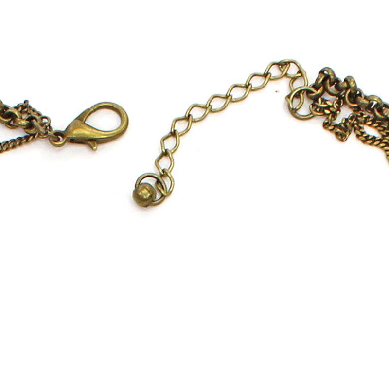 Colar feminino longo, corrente e pingentes - bijuterias - 7483