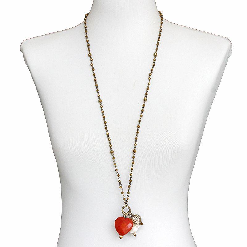 Colar feminino longo, corrente e pingentes - bijuterias - 7583