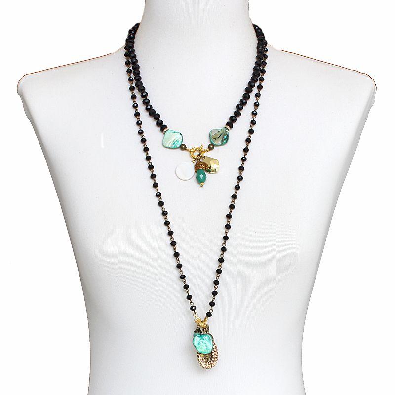 Colar feminino longo, cristais, 2 voltas - bijuterias - 6734