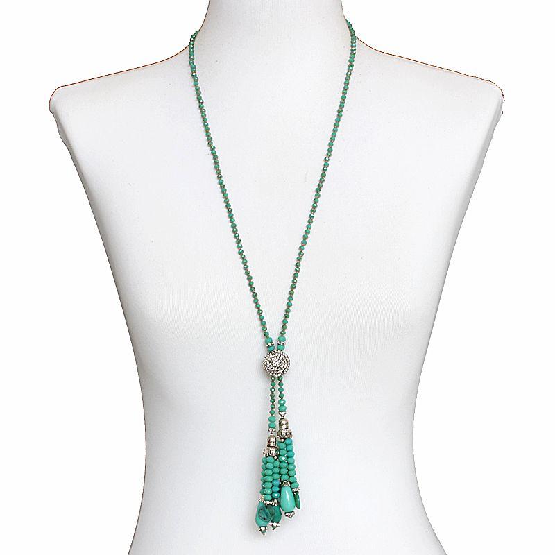 Colar feminino longo cristais - bijuterias - 6719