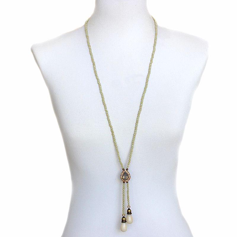 Colar feminino longo , cristais e gota - bijuteria -  5268