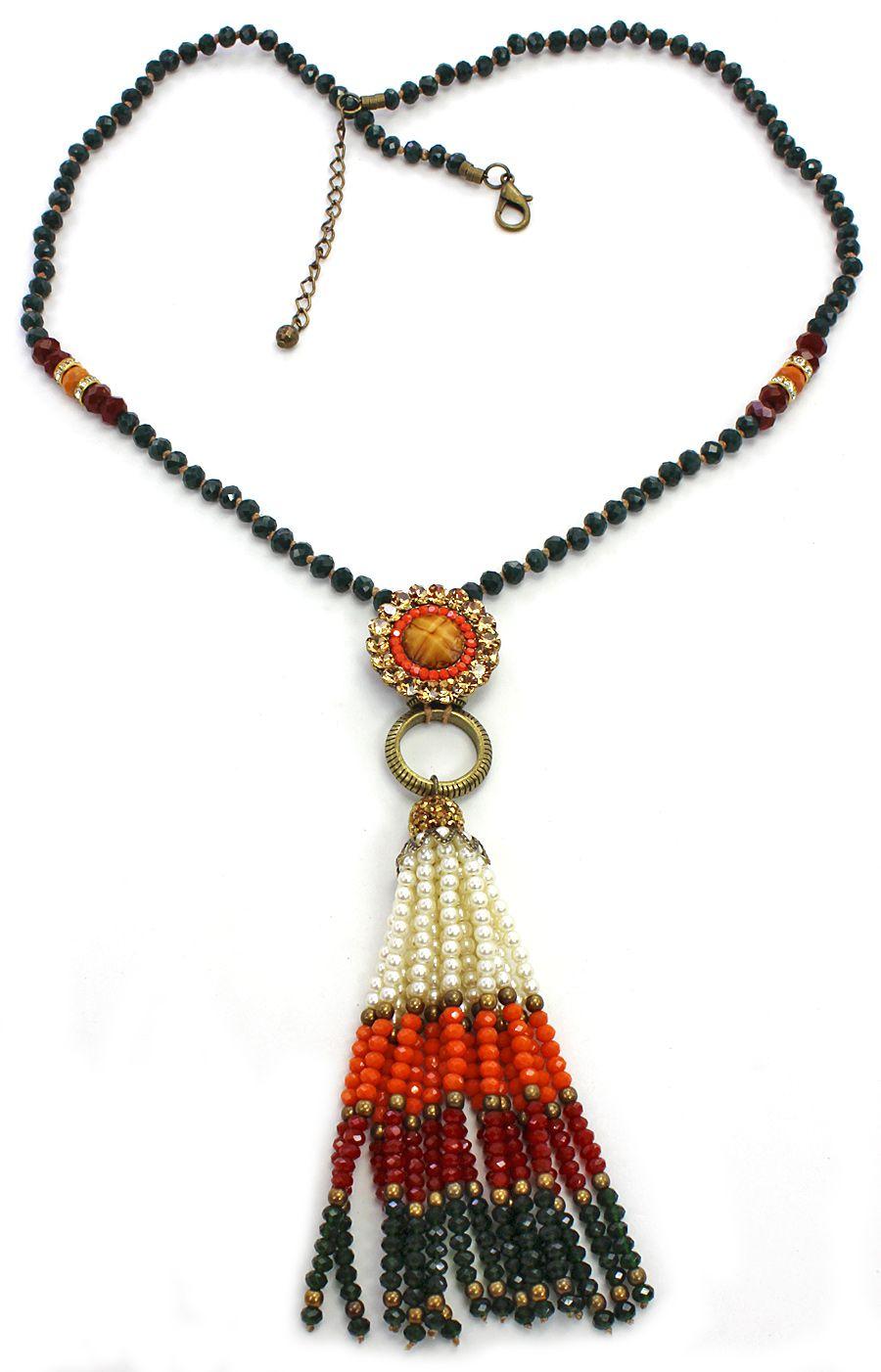 colar feminino longo cristais e pérolas, bijuterias - 1675