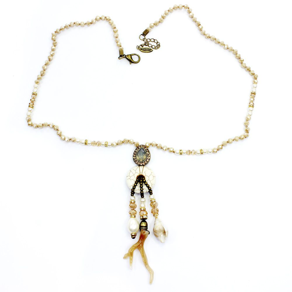 Colar feminino longo cristais, pedras e pingentes - bijuterias- 1782