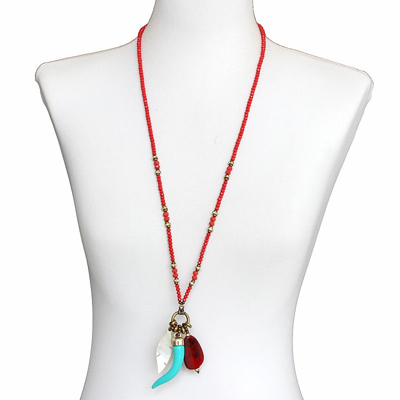 Colar feminino longo, cristais, resina e madrepérola - bijuteria - 7770