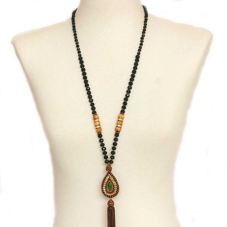 Colar feminino longo cristais , strass e corrente, bijuterias - 1618